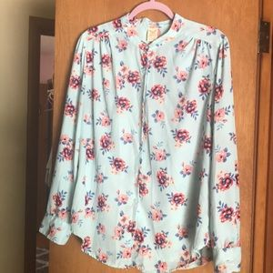 Faded Glory L (12-14) blue floral blouse.